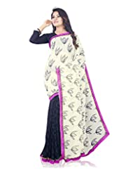 Aadarshini Women's Crepe Saree (117, Off White And Navy Blue)