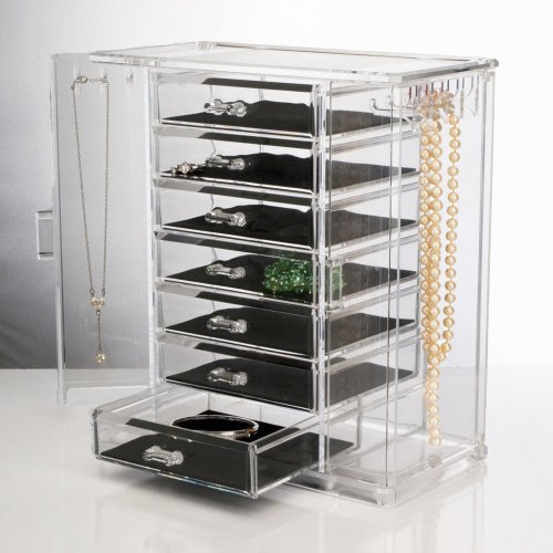 Deluxe 7-Drawer Acrylic Jewelry Chest with Necklace Keeper