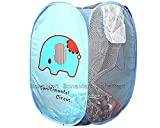 BONAMART ® Foldable Pop Up Mesh Washing Laundry Basket Bag Bin Hamper Toy Tidy Storage Cute Cartoon Elephant