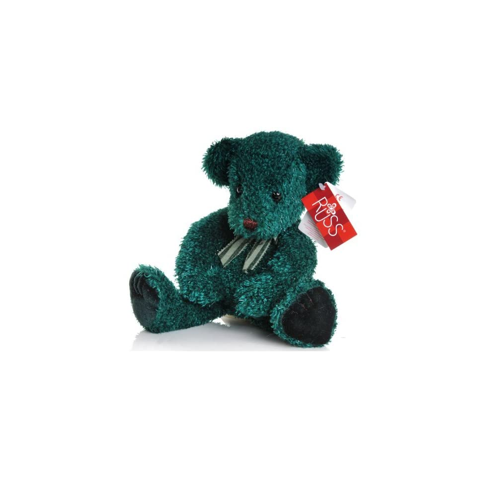 Russ Bear named Spruce 12 inch dark green sparkle plush with a Green Bow [Toy]