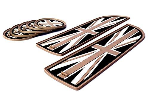 【ハイハイワールド】Hi-Hi-World MINI ミニ クーパー R55 クラブマン ドリンクホルダー コースター ユニオンジャック マットコースター×5 ドアポケットマット×2枚 セット CLUBMAN ドレスアップに最適 (ブラック ユニオンジャック)