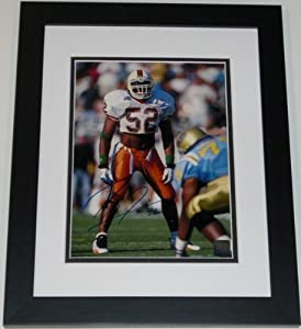 Ray Lewis Autographed Hand Signed Miami Hurricanes UM 8x10 Photo - Custom FRAME by Real+Deal+Memorabilia