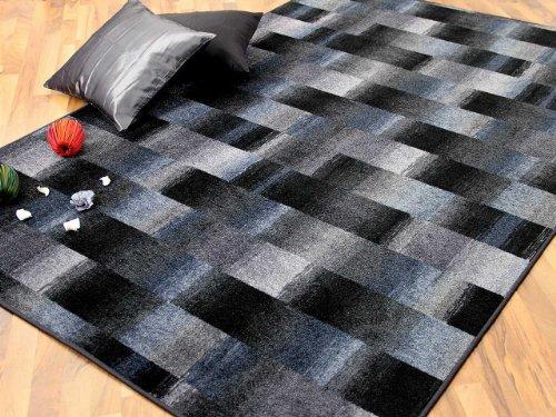 Designer Velour Teppich Mystic Karo Blau Grau Anthrazit in 24 Größen
