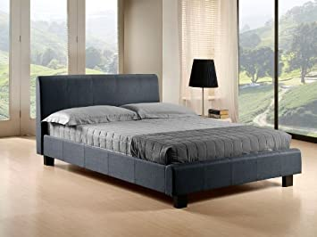 NEW 4ft 6 PEBBLE GREY MODERN DOUBLE FABRIC BED FRAME RRP £349 AND SLUMBER SLEEP VENUS SPRUNG MATTRESS