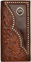 Mens Western Wallet Hand Tooled Leather with Praying Cowboy Cross Concho