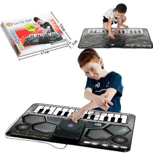 Gift Kids Keyboard Music Piano Drums Play Mat With Speakers & Amplifier Headset