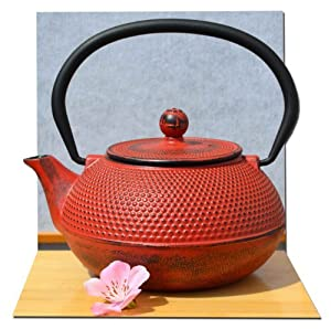 Tetsubin Japanese style Cast Iron Sunset Red hobnail tea pot kettle 0.6 litre by Gifts Of The Orient