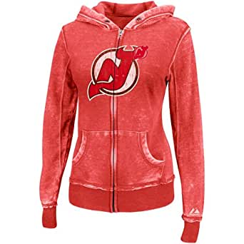 NHL Womens New Jersey Devils Delayed Call Washed Athletic Red Heather Long Sleeve Full Zip Hood Brnout Fleece By Majestic (Washed Athletic Red Heather, XX-Large)