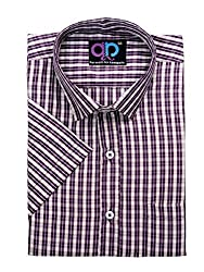 Formals by Koolpals- Rich Cotton Blend-Wine Coloured Check Shirt