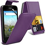 ( Purple ) Huawei Ascend G300 Protective Faux Credit / Debit Card Slot Leather Flip Skin Case Cover & LCD Screen Protector Guard by ONX3