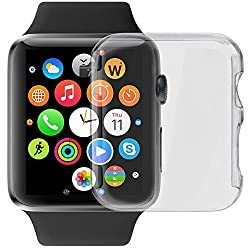 Apple Watch Case, LUVVITT SUPER EASY Snap-on Case for Apple Watch 38mm with Built-in Screen Protector | Hard Cover for Apple Watch | Crystal Clear Case for Apple Watch | for All Editions - 38 mm