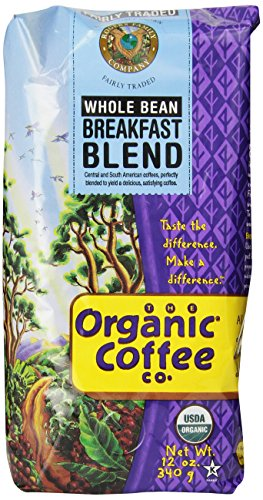The Organic Coffee Co. Whole Bean, Breakfast Blend, 12 Ounce (Pack of 3)