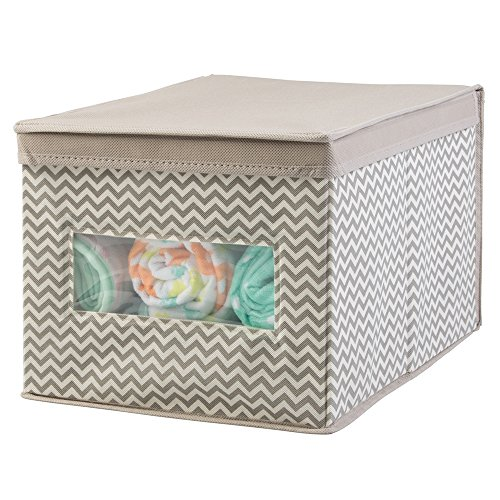 mDesign Chevron Fabric Baby Nursery Closet Organizer Box for Clothing, Blankets, Towels, Bibs - Large, Taupe/Natural (Baby Fabric Baskets compare prices)