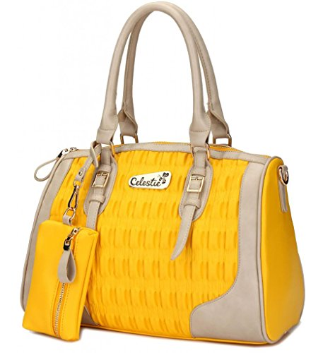 Bee Celestie Sunny Loveliness Bright Purse with Matching Attached Coin Pouch - PU Leather
