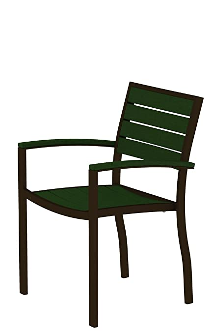 POLYWOOD A200-16GR Dining Arm Chair, Euro, Textured Bronze/Green