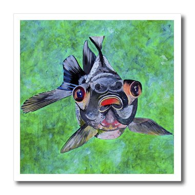 Ht_46714_2 Taiche - Acrylic Painting - Fish - Black Moor Goldfish - Black Moor Goldfish, Telescope Goldfish, Goldfish, Dragon Eye Goldfish - Iron On Heat Transfers - 6X6 Iron On Heat Transfer For White Material
