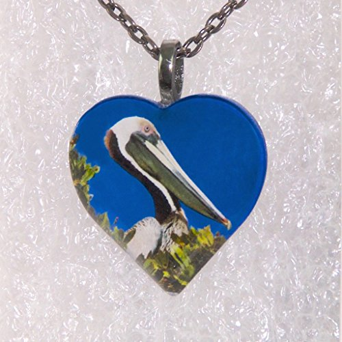 Brown Pelican Heart Pendant with Necklace