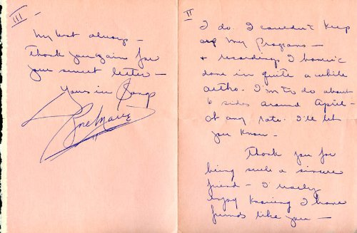 Rose Marie - Autograph Letter Signed 1941