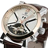 ESS Mens Automatic Mechanical Brown Leather White Dial Luxury Mens Man Wrist Watch WM354