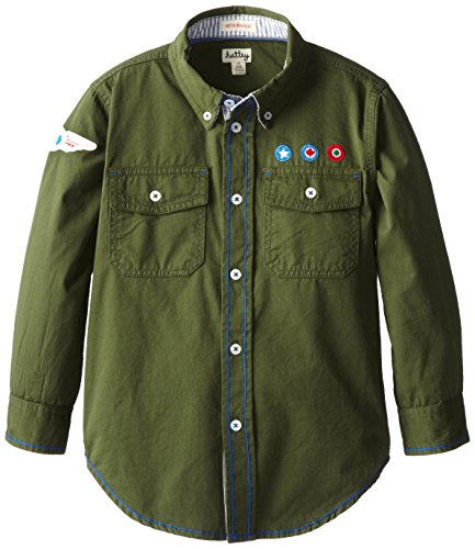 Hatley Little Boys' Button Down Shirt, Green, 8 front-1022169