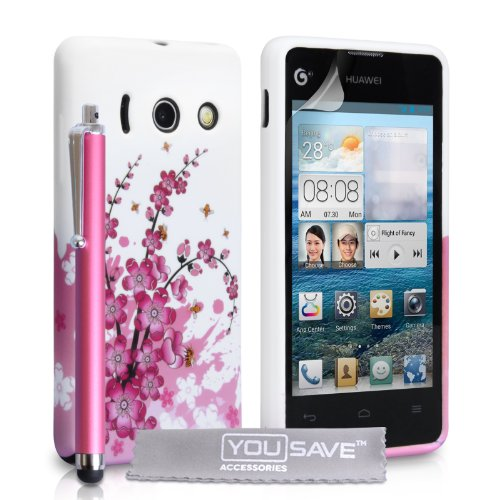 huawei-ascend-y300-case-floral-bee-silicone-gel-cover-and-stylus-pen