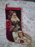 New Handmade Christmas Wool Needlepoint Stocking-satan Claus & Baby
