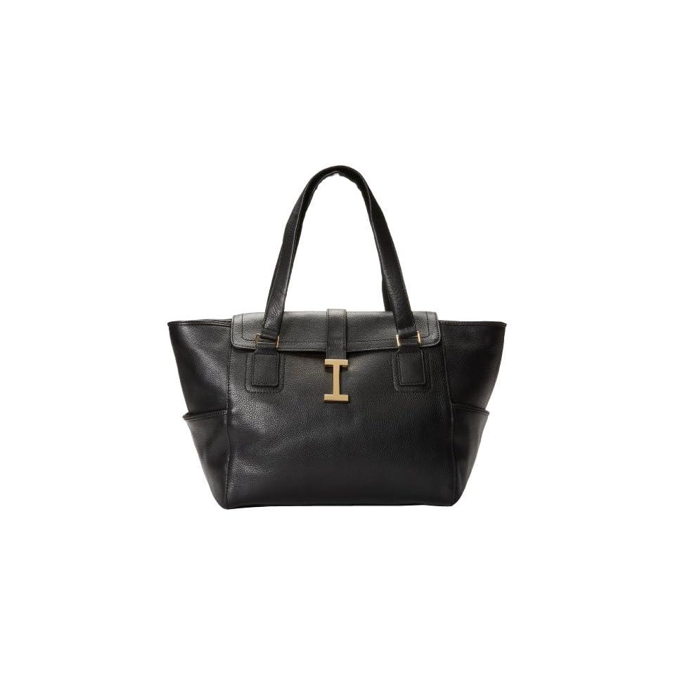 Isaac Mizrahi   Handbags Womens Greta Large IM92007 000 Satchel,Black Leather,One Size