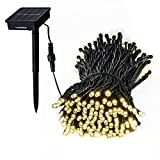 Loende Solar Outdoor String Lights, Waterproof 72Ft 200 LED 8 Modes Fairy Garden Lighting, for Indoor, Home, Bedroom, Yard, Patio, Tree, Wedding, Holiday, Party Decorations (Warm White)