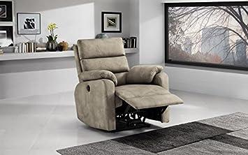 Dafnedesign.com - Poltrona con recliner manuale (cm. 88 x 95 x 99h) Similpelle tortora