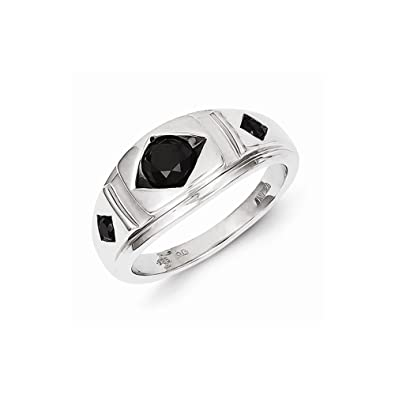 Sterling Silver Round Black Diamond Mens Ring