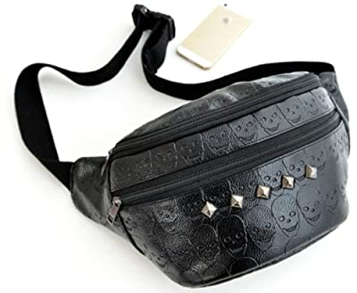 Big Mango Big Capacity Multipurpose Waist Bag Fashion Chest Pack Male Satchel Shoulder Bag Pocket Crossbody Bag with Skull Skeleton Pattern and Rivets for Apple iphone 4 4s 5 5s Samsung Galaxy s3 s4 NOTE2 NOTE3 HTC MP3 Key Photo Credentials Cards Makeup a