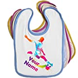 Soccer Personalised Baby Bib Blue Pink Yellow or White