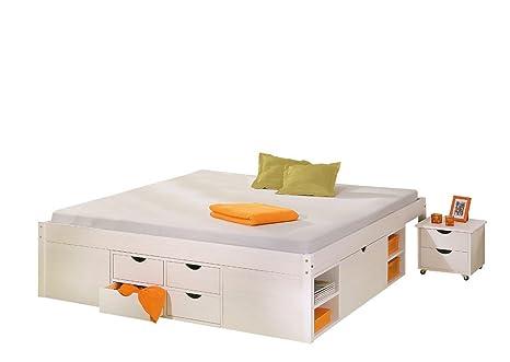 Funzione letto 140x 190cm in legno massello laccato bianco