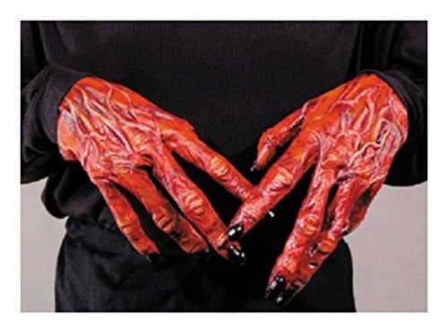 [HALLOWEEN ADULT DEVIL DEMON HANDS GLOVES MASK PROP CREEPY STYLE] (Cool Face Painting Costumes)