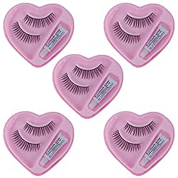 Kabello Eyelashes With Glue Premium Quality Makeup Accessories For Party Makeup ... (set of 5 pairs)
