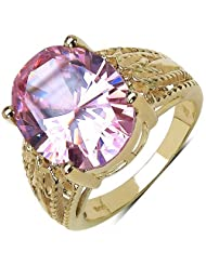 Suraabi 14.40CTW Pink Cubic Zirconia 14K Yellow Gold Plated Brass Ring For Women Size 6