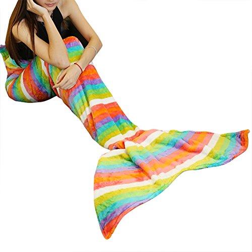 iiniim Meerjungfrau Schwanz Decke Fleecedecke Kuscheldecke Bettdecke Wolldecke für Erwachsene (Mehrfarbig) Regenbogen Streifen Einheitsgröße thumbnail