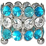 DakshCraft Crystel White & Skyblue Metal Candle Holder For Celebrations, Decorations, Diwali, Home Décor, Outdoor...