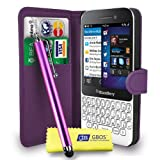 Blackberry Q5 Dark Purple Leather Wallet Flip Case Cover Pouch + Free Screen Protector & Touch Stylus Pen - Dark Purple