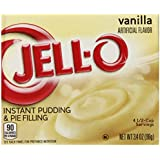 Jell-O Instant Pudding and Pie Filling, Vanilla, 3.4-Ounce Boxes (Pack of 6)