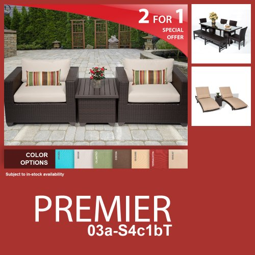 Premier 12 Piece Outdoor Wicker Patio Furniture Package Premier-03A-S4C1Bt