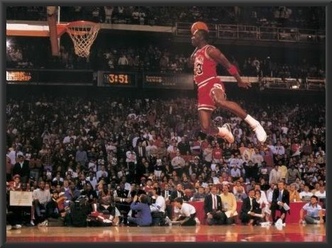 Michael Jordan Famous Foul Line Dunk 36x24 Wood Framed Poster Art Print Vintage Sports (Framed Michael Jordan Poster compare prices)