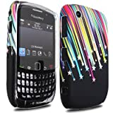JJOnline Case Cover Skin For BlackBerry Curve 8520 - Black Colourful Shooting Star Print Silicone Rubber Gel Plus Free Screen Protector