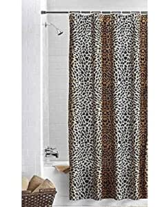 Ombre Cheetah Black Brown Fabric Shower Curtain Home Kitchen