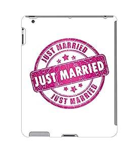 Fuson 3D Printed Just Married Rubber Stamp Designer Back Case Cover for Apple iPad 2 - D672