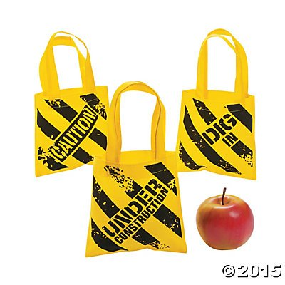 Great Features Of Construction Zone Mini Tote Bags - 12 ct