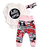 Baby Girl Boy Hello World Romper Floral Deer Pants Leggings Outfits Set (0-3 Months, Style 1)