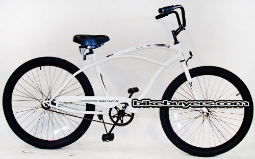 Micargi Touch, white, Men's 1-speed Beach Cruiser Bike Schwinn Nirve Firmstrong Style