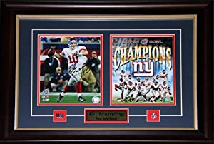 Eli Manning Superbowl XLII New York Giants Signed 2 photo Frame by Midway Memorabilia