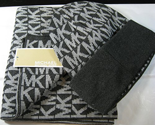Michael Kors Set of Mk Signature Scarf and Hat Winter Grey, Classic Set